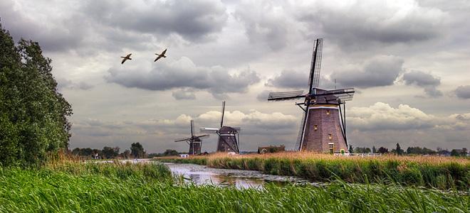Ветряные мельницы деревни Киндердейк (13 фото)