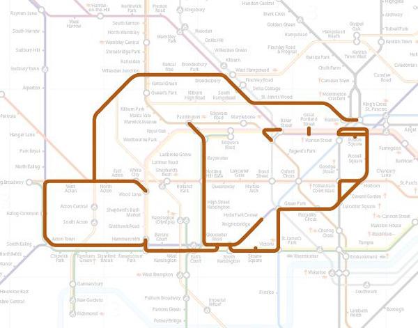 Животные на схеме лондонского метрополитена (12)