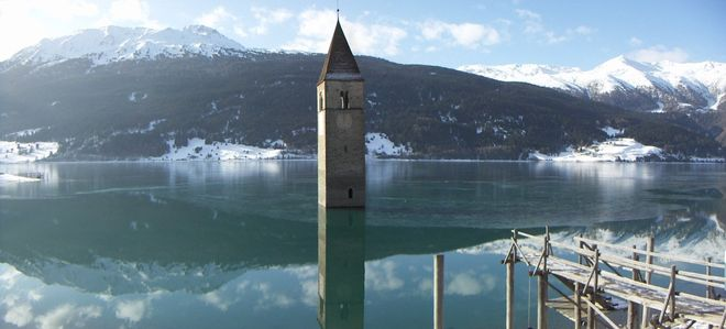 Колокольня из воды: озеро Резия (Италия)