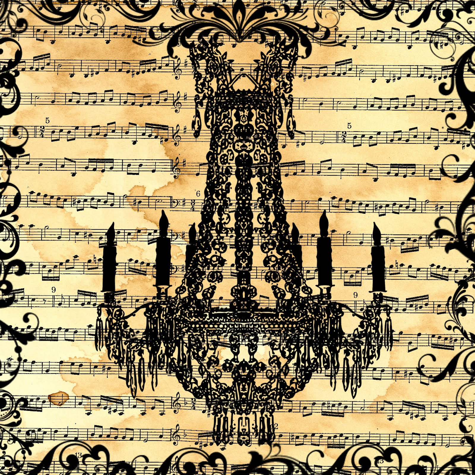 free digital scrapbook paper_music sheet chandelier collage