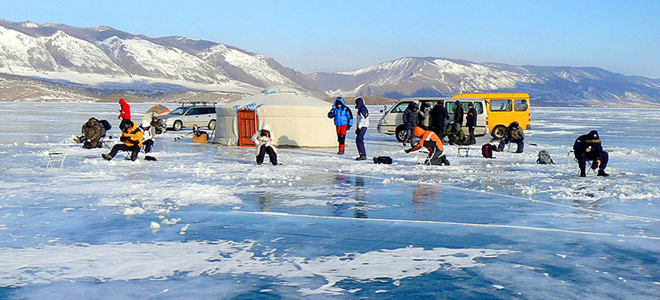 Зимняя рыбалка на Байкале. Прикармливание карпа
